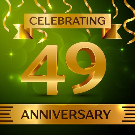 Realistic Forty-nine years anniversary celebration vector design. Çizim
