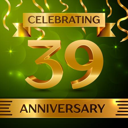 Realistic Thirty-nine years anniversary celebration vector design. Ilustração