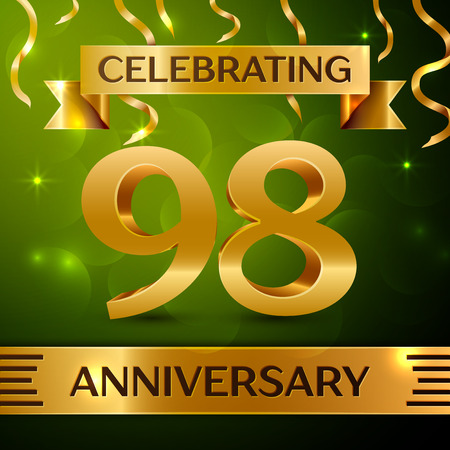 Realistic Ninety eight Years Anniversary Celebration Design. Confetti and gold ribbon on green background. Colorful Vector template elements for your birthday party. Anniversary ribbon