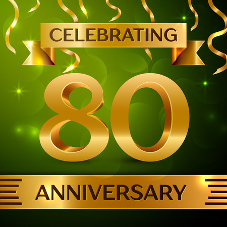 80th: Realistic Eighty Years Anniversary Celebration Design. Confetti and gold ribbon on green background. Colorful Vector template elements for your birthday party. Anniversary ribbon