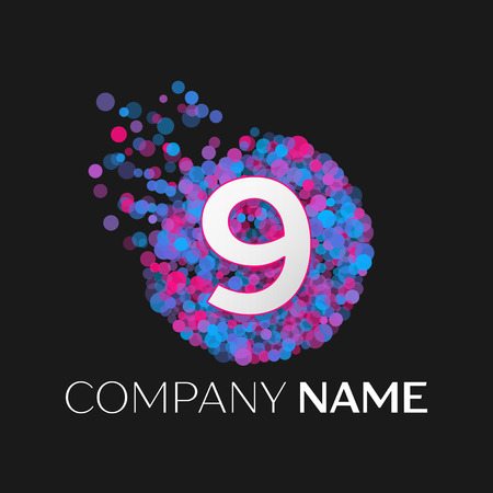 pink and black: Realistic Number nine logo with blue, purple, pink particles and bubble dots in circle on black background. Vector template for your design