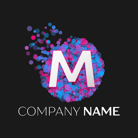 pink and black: Realistic Letter M logo with blue, purple, pink particles and bubble dots in circle on black background. Vector template for your design