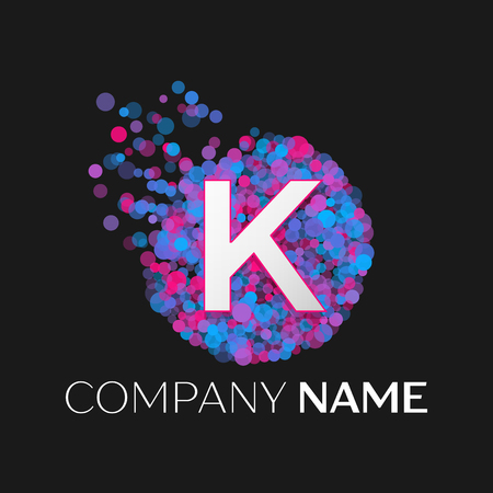 pink and black: Realistic Letter K logo with blue, purple, pink particles and bubble dots in circle on black background. Vector template for your design Illustration