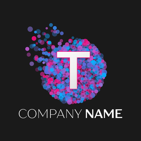 pink and black: Realistic Letter T logo with blue, purple, pink particles and bubble dots in circle on black background. Vector template for your design