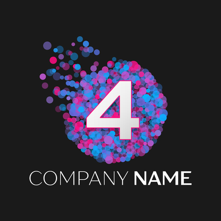 pink and black: Realistic Number four logo with blue, purple, pink particles and bubble dots in circle on black background. Vector template for your design Illustration