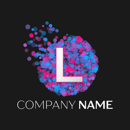 pink and black: Realistic Letter L logo with blue, purple, pink particles and bubble dots in circle on black background. Vector template for your design