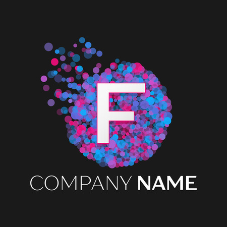 pink and black: Realistic Letter F logo with blue, purple, pink particles and bubble dots in circle on black background. Vector template for your design