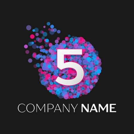 pink and black: Realistic Number five logo with blue, purple, pink particles and bubble dots in circle on black background. Vector template for your design