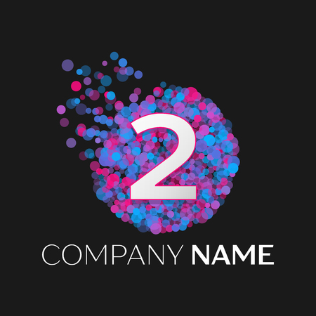 pink and black: Realistic Number two logo with blue, purple, pink particles and bubble dots in circle on black background. Vector template for your design