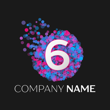 pink and black: Realistic Number six logo with blue, purple, pink particles and bubble dots in circle on black background. Vector template for your design Illustration