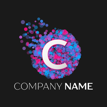 pink and black: Realistic Letter C logo with blue, purple, pink particles and bubble dots in circle on black background. Vector template for your design