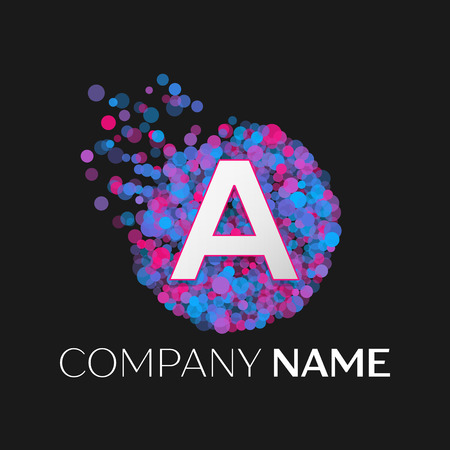 pink and black: Realistic Letter A logo with blue, purple, pink particles and bubble dots in circle on black background. Vector template for your design