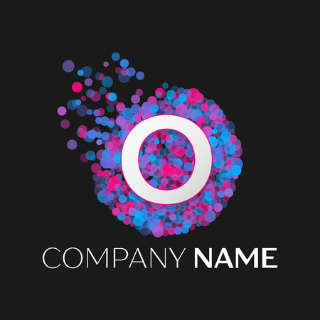 pink and black: Realistic Letter O logo with blue, purple, pink particles and bubble dots in circle on black background. Vector template for your design