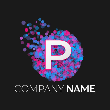 pink and black: Realistic Letter P logo with blue, purple, pink particles and bubble dots in circle on black background. Vector template for your design