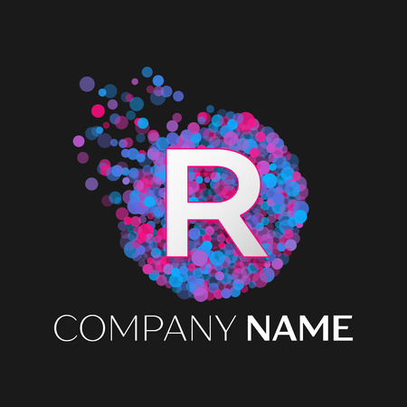 pink and black: Realistic Letter R logo with blue, purple, pink particles and bubble dots in circle on black background. Vector template for your design Illustration