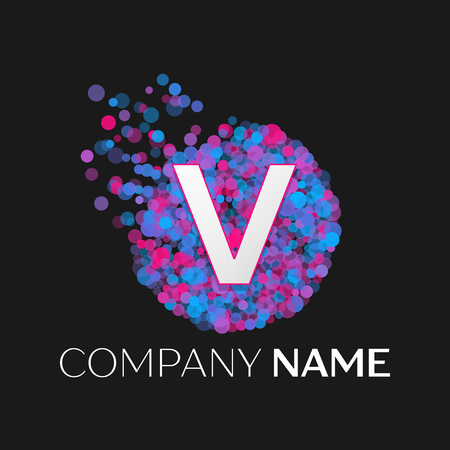 pink and black: Realistic Letter V logo with blue, purple, pink particles and bubble dots in circle on black background. Vector template for your design