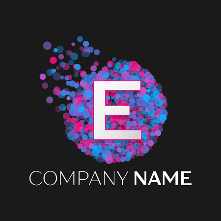 pink and black: Realistic Letter E logo with blue, purple, pink particles and bubble dots in circle on black background. Vector template for your design
