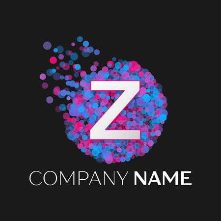 pink and black: Realistic Letter Z logo with blue, purple, pink particles and bubble dots in circle on black background. Vector template for your design Illustration