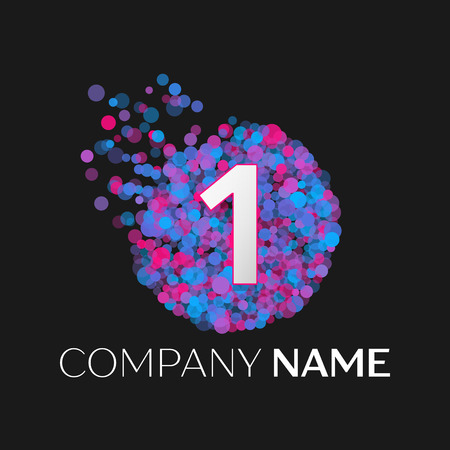 pink and black: Realistic Number one logo with blue, purple, pink particles and bubble dots in circle on black background. Vector template for your design