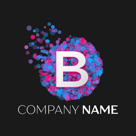 pink and black: Realistic Letter B logo with blue, purple, pink particles and bubble dots in circle on black background. Vector template for your design Illustration