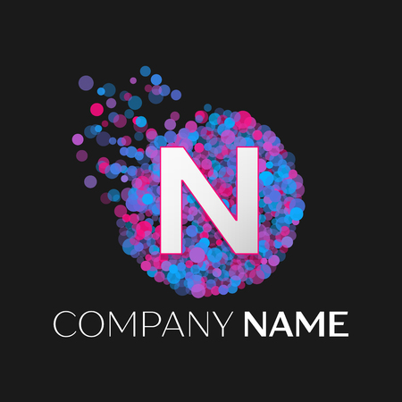 pink and black: Realistic Letter N logo with blue, purple, pink particles and bubble dots in circle on black background. Vector template for your design