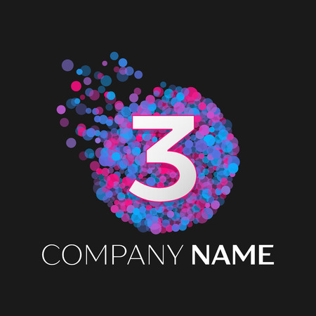 pink and black: Realistic Number three logo with blue, purple, pink particles and bubble dots in circle on black background. Vector template for your design