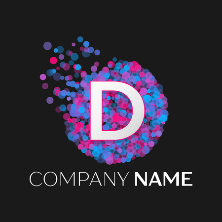 pink and black: Realistic Letter D logo with blue, purple, pink particles and bubble dots in circle on black background. Vector template for your design