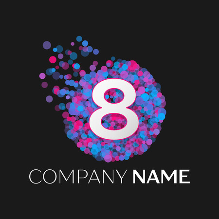 pink and black: Realistic Number eight logo with blue, purple, pink particles and bubble dots in circle on black background. Vector template for your design Illustration