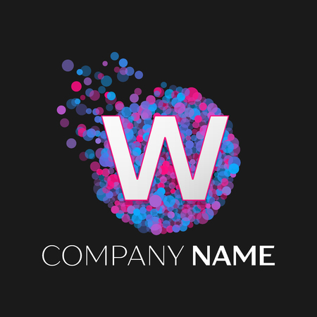 pink and black: Realistic Letter W logo with blue, purple, pink particles and bubble dots in circle on black background. Vector template for your design