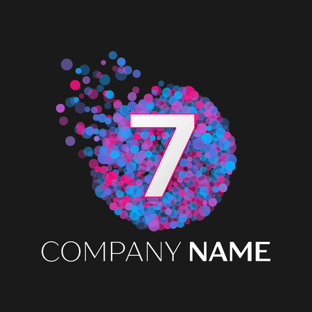 pink and black: Realistic Number seven logo with blue, purple, pink particles and bubble dots in circle on black background. Vector template for your design