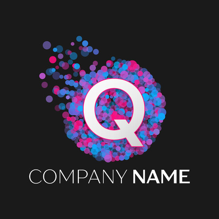 pink and black: Realistic Letter Q logo with blue, purple, pink particles and bubble dots in circle on black background. Vector template for your design Illustration