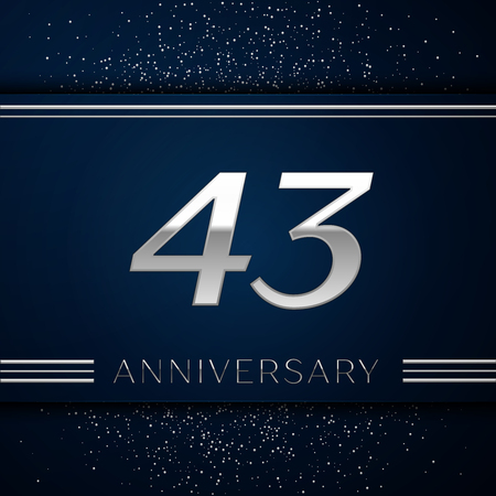Realistic Forty three Years Anniversary Celebration Logotype. Silver numbers and silver confetti on blue background. Colorful Vector template elements for your birthday party Illustration