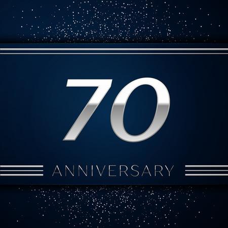 현실적인 70 주년 기념 행사 로고 타입. 파란색 배경에 실버 숫자와 실버 색종이. 생일 파티를위한 다채로운 벡터 템플릿 요소