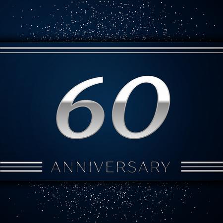 Realistische zestig jaar verjaardagsviering logo. Zilveren cijfers en zilveren confetti op blauwe achtergrond. Kleurrijke vector sjabloon elementen voor uw verjaardagsfeestje