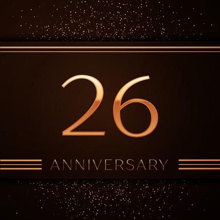 Realistische zesentwintig jaar verjaardagsviering logo. Gouden cijfers en gouden confetti op bruine achtergrond. Kleurrijke vector sjabloon elementen voor uw verjaardagsfeestje