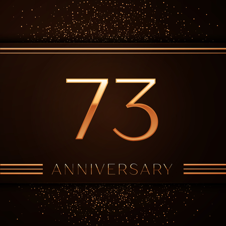 현실적인 73 주년 기념 행사 로고 타입. 황금 숫자와 갈색 배경에 황금 색종이. 생일 파티를위한 다채로운 벡터 템플릿 요소 일러스트