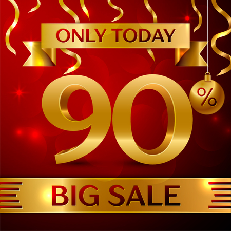 Realistic banner Merry Christmas with text Big Sale only today ninety percent for discount on red background. Confetti, christmas ball and gold ribbon. Vector Illustration