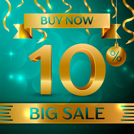 Realistic banner Merry Christmas with text gold Big Sale buy now fifteen percent for discount on green background. Confetti, Christmas ball and gold ribbon.