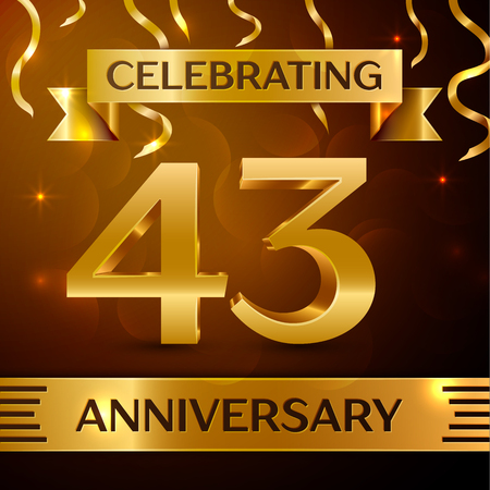 Realistic Forty three Years Anniversary Celebration Design. Golden confetti and gold ribbon on brown background. Colorful Vector template elements for your birthday party