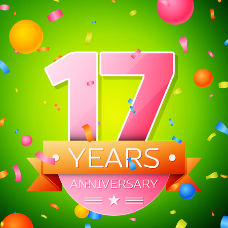 Realistic Seventeen Years Anniversary Celebration Design. Pink numbers and golden ribbon, confetti on green background. Colorful Vector template elements for your birthday party Illustration