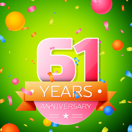 Realistic Sixty one Years Anniversary Celebration Design. Pink numbers and golden ribbon, confetti on green background. Colorful Vector template elements for your birthday party