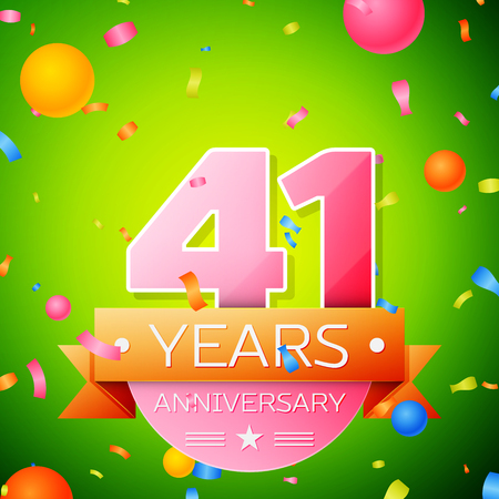 Realistic Forty one Years Anniversary Celebration Design. Pink numbers and golden ribbon, confetti on green background. Colorful Vector template elements for your birthday party Illustration