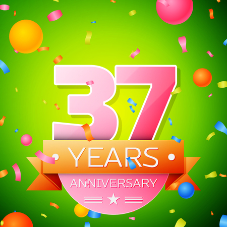 Realistic Thirty seven Years Anniversary Celebration Design. Pink numbers and golden ribbon, confetti on green background. Colorful Vector template elements for your birthday party