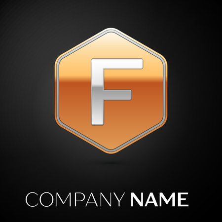 Letter F vector logo symbol in the golden hexagonal on black background. Vector template for your design