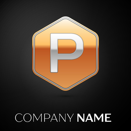 Letter P vector logo symbol in the golden hexagonal on black background. Vector template for your design