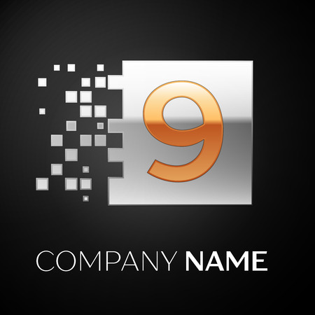 Number Nine logo symbol in the golden-silver colorful square with shattered blocks on black background. Vector template for your design