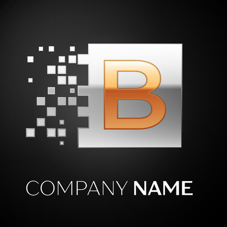 Letter B logo symbol in the golden-silver colorful square with shattered blocks on black background. Vector template for your design