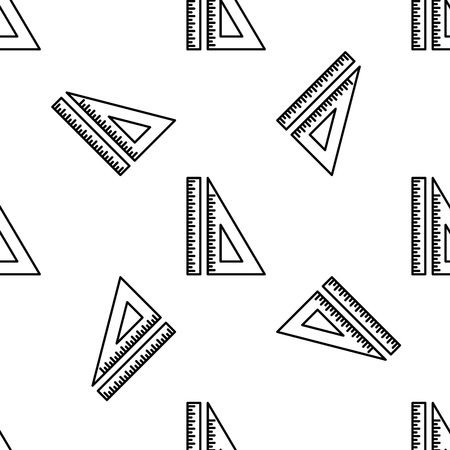 Set ruler, triangular ruler and protractor line icon seamless pattern on white background. Straightedge sign. Triangle sign. Geometrical instruments. Flat design. Vector Illustration Illustration