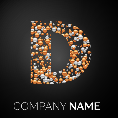 Letter D logo gold-silver dots. Alphabet logotype with abstract golden-silver bubbles shape on black background. Vector template for your design Stock Illustratie