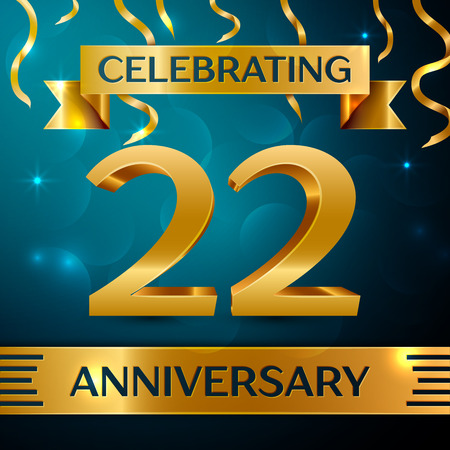 Realistic Twenty two Years Anniversary Celebration Design. Golden confetti and gold ribbon on blue background. Colorful Vector template elements for your birthday party